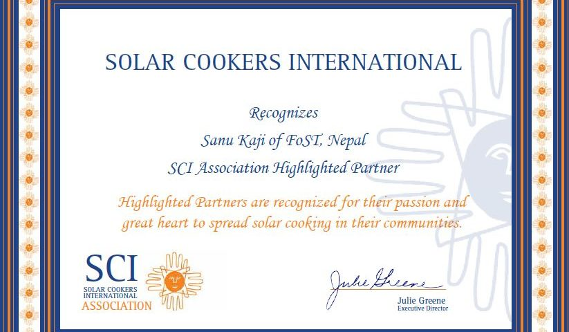 Solar cookers international certificate, April 2016